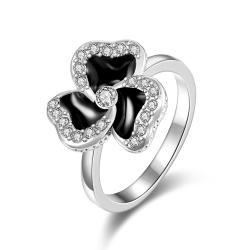 Vienna Jewelry White Gold Plated Twister Clover Shaped Ring Size 8 - Thumbnail 0
