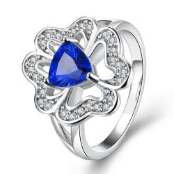 Vienna Jewelry White Gold Plated Triangular Saphire Clover Shaped Ring Size 7 - Thumbnail 0