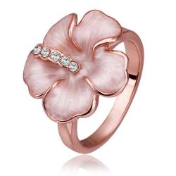 Vienna Jewelry Rose Gold Plated Coral Floral Petal Ring Size 8 - Thumbnail 0