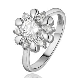 Vienna Jewelry White Gold Plated Petite Snowflake Covered with Jewels Ring Size 8 - Thumbnail 0