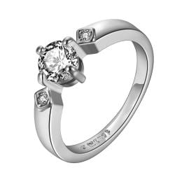 Vienna Jewelry White Gold Plated Crystal Jewel Center Petite Ring Size 8 - Thumbnail 0
