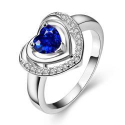 Vienna Jewelry White Gold Plated Saphire Opening Ring Size 8 - Thumbnail 0