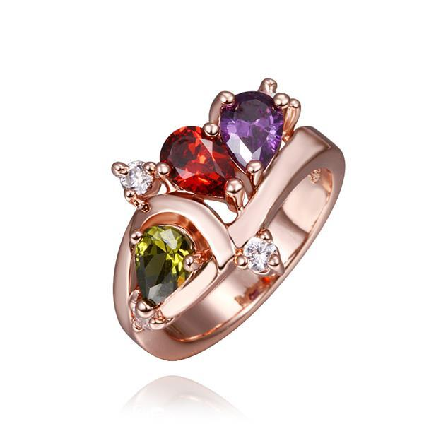 Vienna Jewelry Rose Gold Plated Trio-Jewels Rainbow Ring Size 8