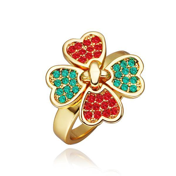 Vienna Jewelry Gold Plated Ruby & Saphire Clover Ring Size 8
