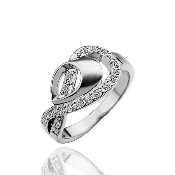 Vienna Jewelry White Gold Plated Swirl Design Jewels Ring Size 8