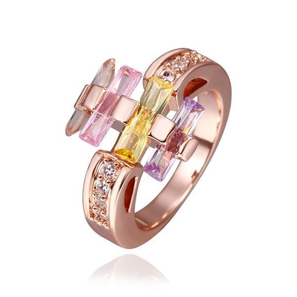 Vienna Jewelry Rose Gold Plated Multi-Colored Linear Ring Size 8