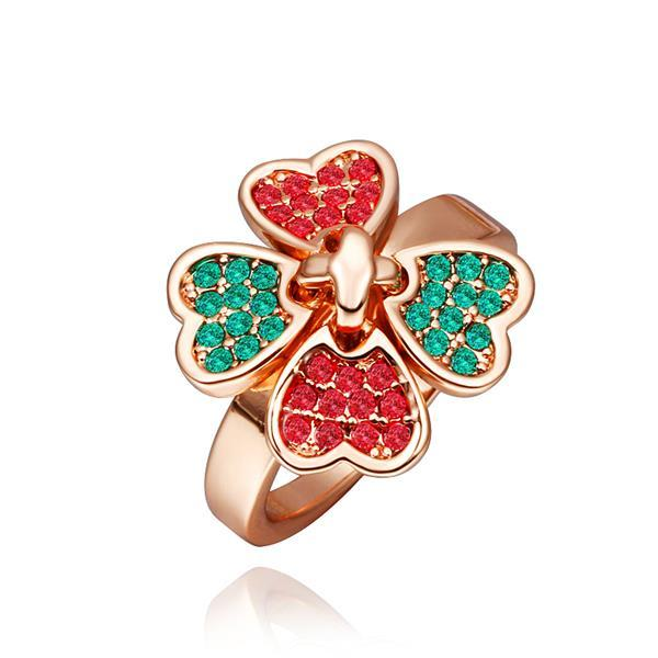 Vienna Jewelry Rose Gold Plated Ruby & Saphire Clover Ring Size 8