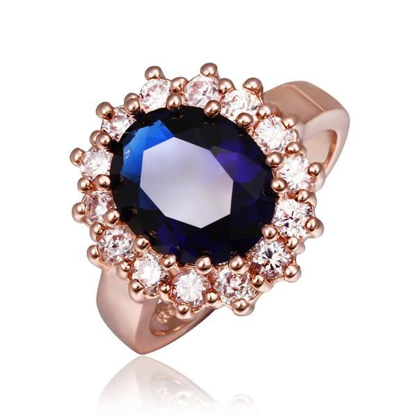 Vienna Jewelry Rose Gold Plated Saphire Gem Center Piece Ring Size 8