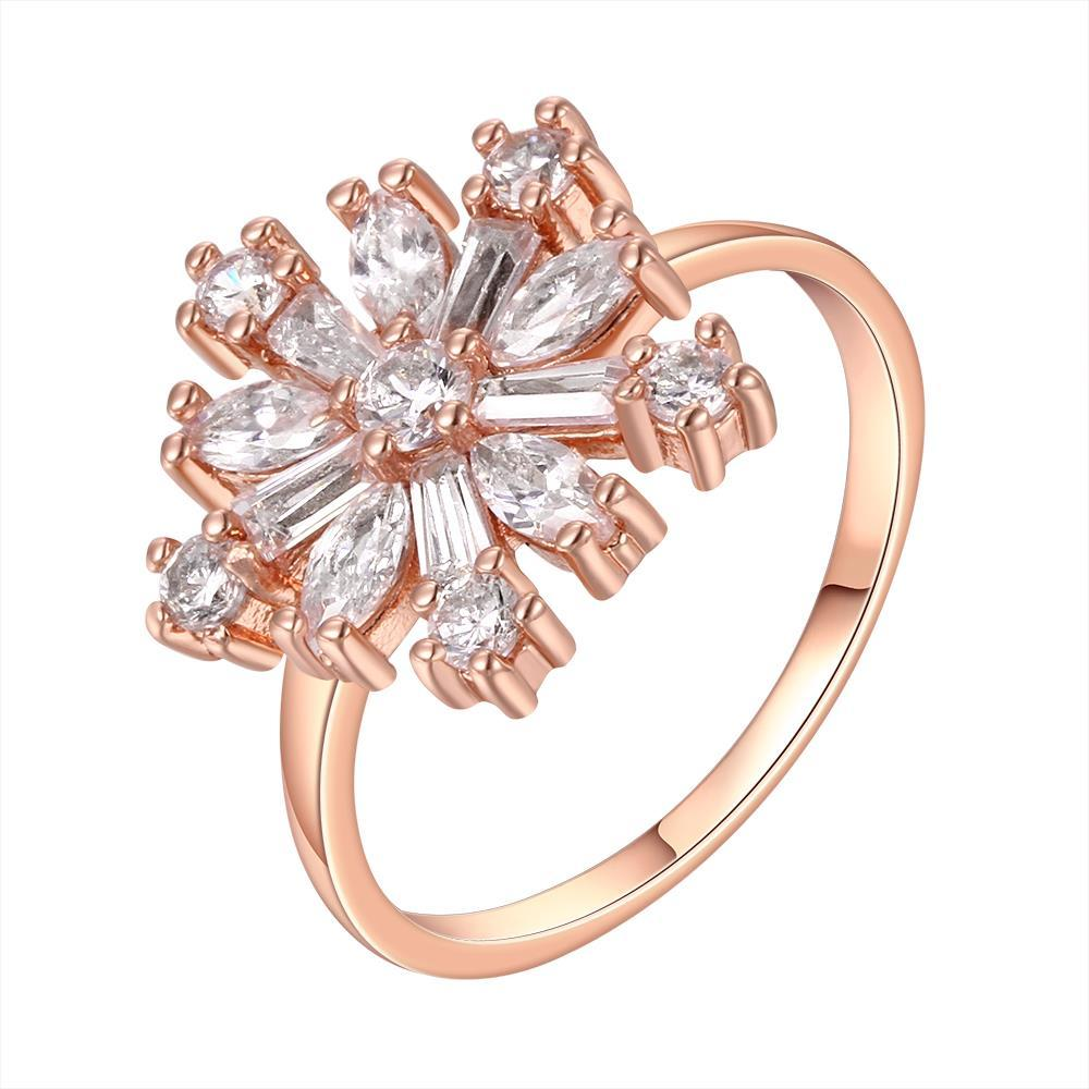 Vienna Jewelry Rose Gold Plated Snowflake Emblem Ring Size 8