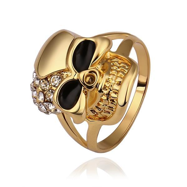 Vienna Jewelry Gold Plated Skull Designer Inspired Ring Size 8