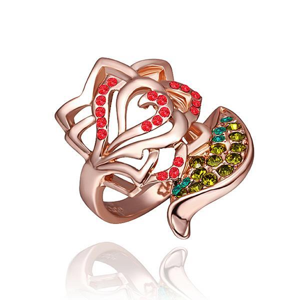 Vienna Jewelry Rose Gold Plated Ruby Floral Petal Ring Size 8