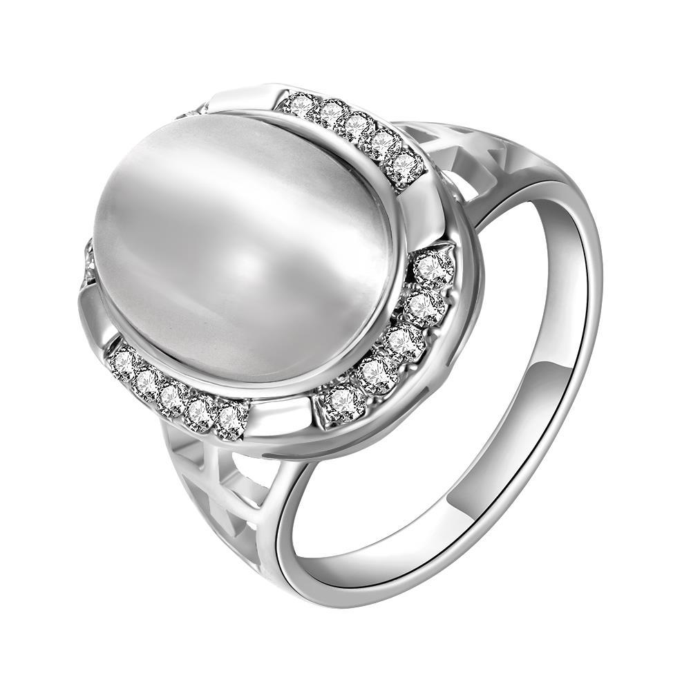 Vienna Jewelry White Gold Plated Classical Onyx Centerpiece Ring Size 8
