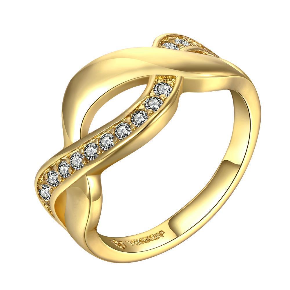 Vienna Jewelry Gold Plated Petite Swirl Design Ring Size 7