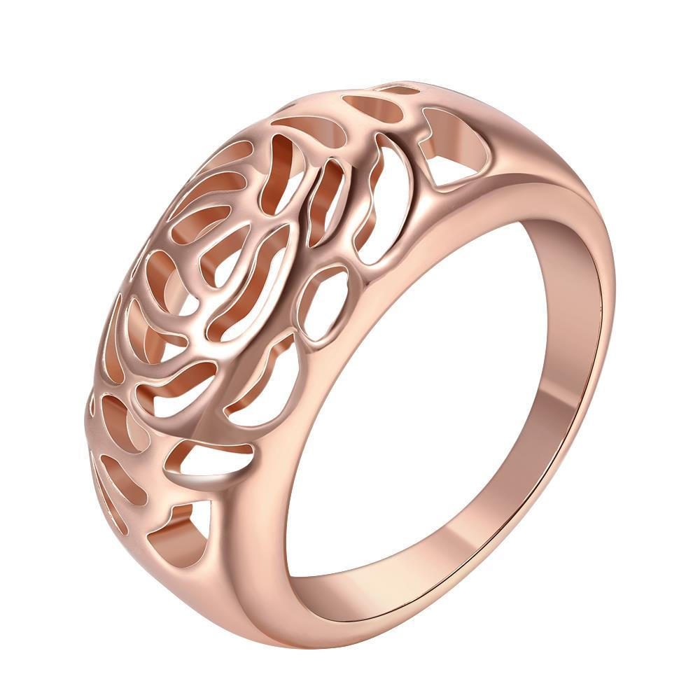 Vienna Jewelry Rose Gold Plated Laser Cut Floral Design Ring Size 8