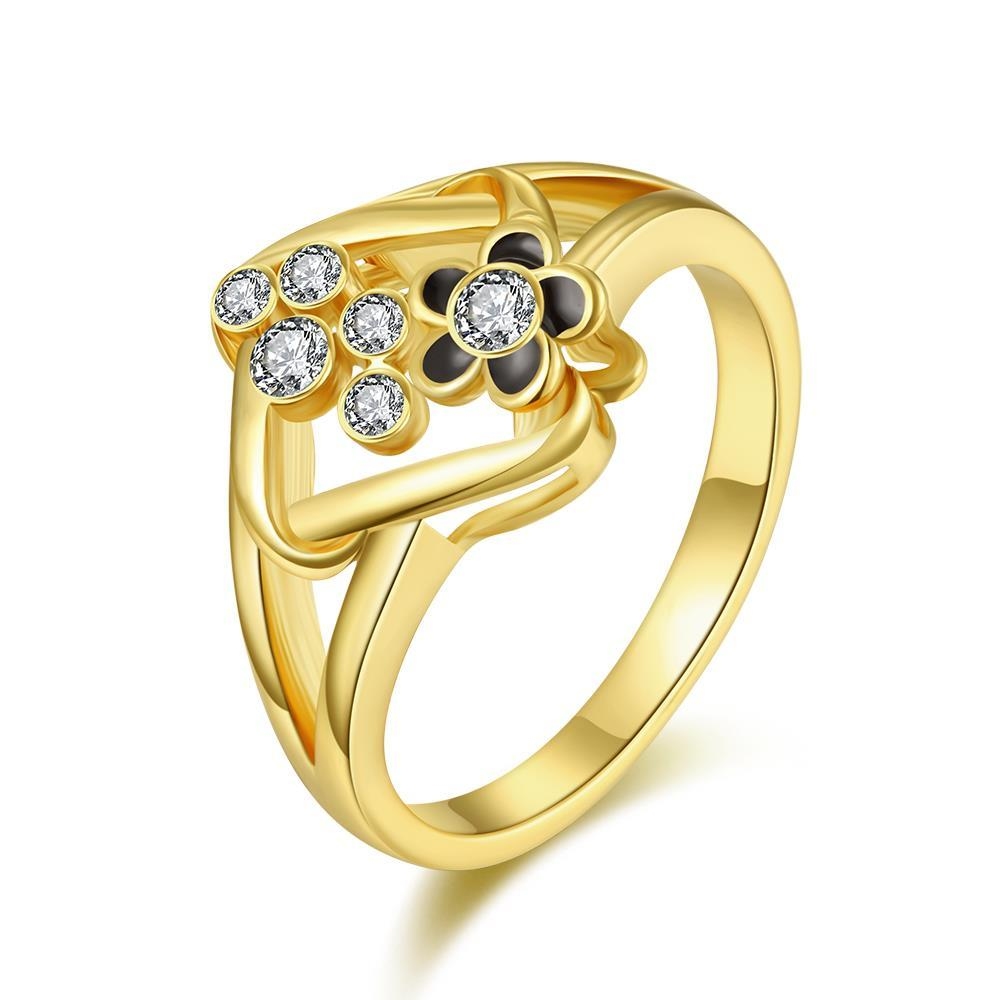 Vienna Jewelry Gold Plated Curved Rhombus Cocktail Ring Size 7