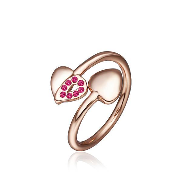 Vienna Jewelry Petite Rose Gold Plated Coral Swirl Ring Size 8