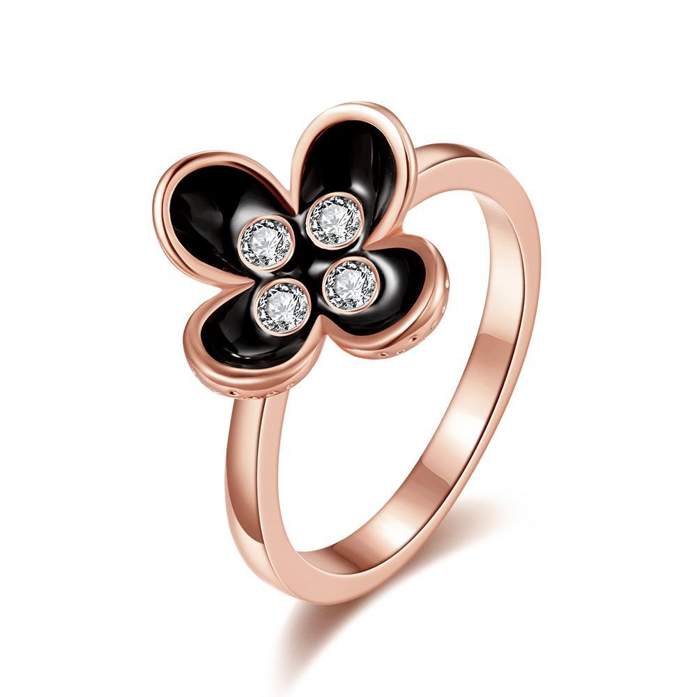 Vienna Jewelry Rose Gold Plated Blossoming Onyx Floral Ring Size 8