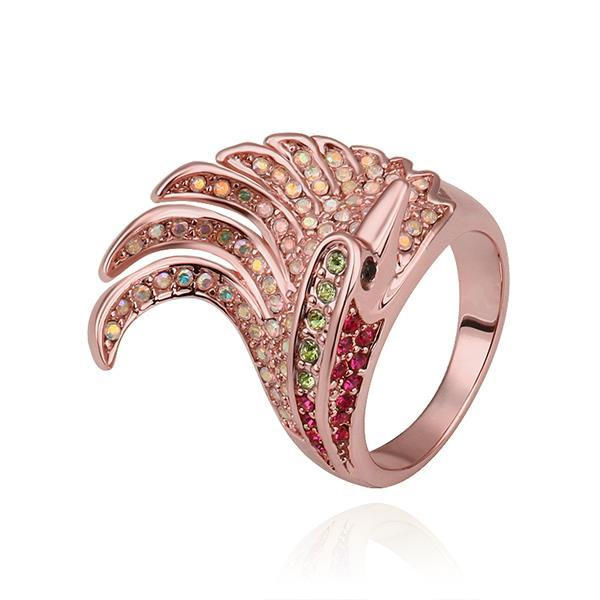 Vienna Jewelry Rose Gold Plated Spiral Curved Cocktail Ring Size 8