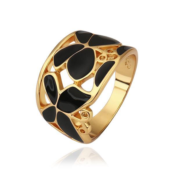 Vienna Jewelry Gold Plated Onyx Layering Laser Cut Ring Size 8