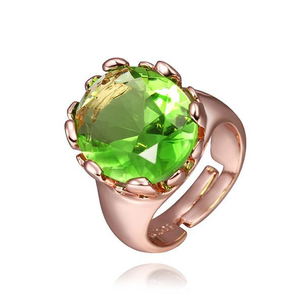 Vienna Jewelry Rose Gold Plated Emerald Center Classic Ring Size 8