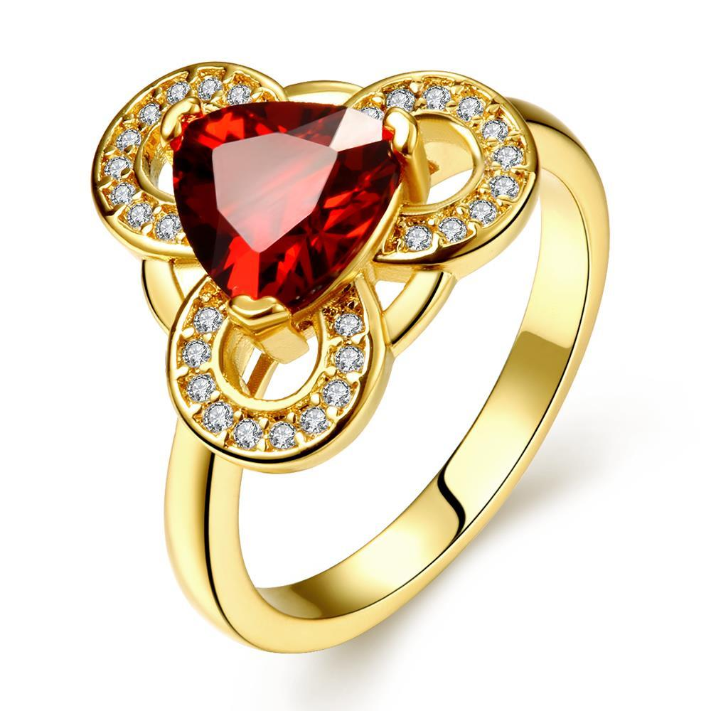 Vienna Jewelry Gold Plated Triangular Ruby Sized Ring Size 8