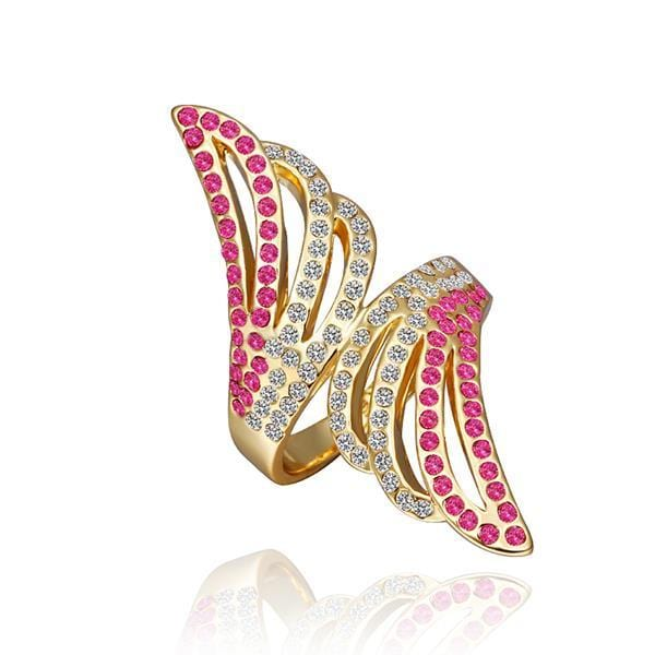 Vienna Jewelry Gold Plated Coral Jewels Floral Orchid Ring Size 8 - Thumbnail 0