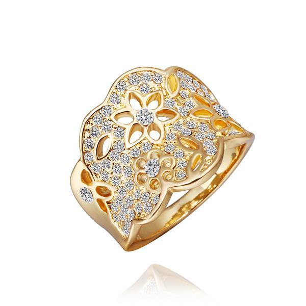 Vienna Jewelry Gold Plated Jewels Covering Tiara Hollow Ring Size 8