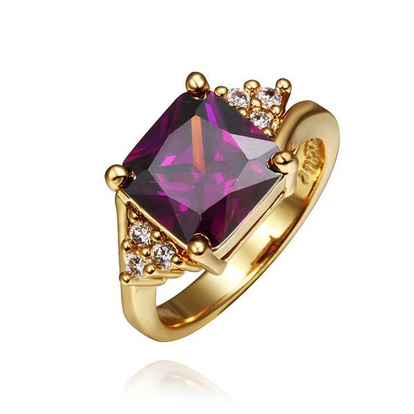 Vienna Jewelry Gold Plated Lavender Citrine Center Ring Size 8