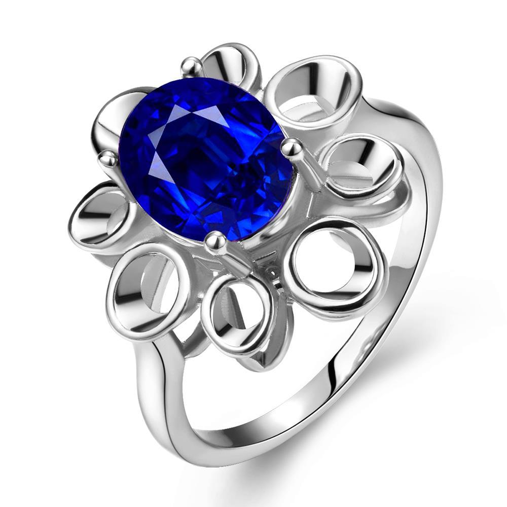 Vienna Jewelry White Gold Plated Laser Cut Floral Petal Saphire Ring Size 7