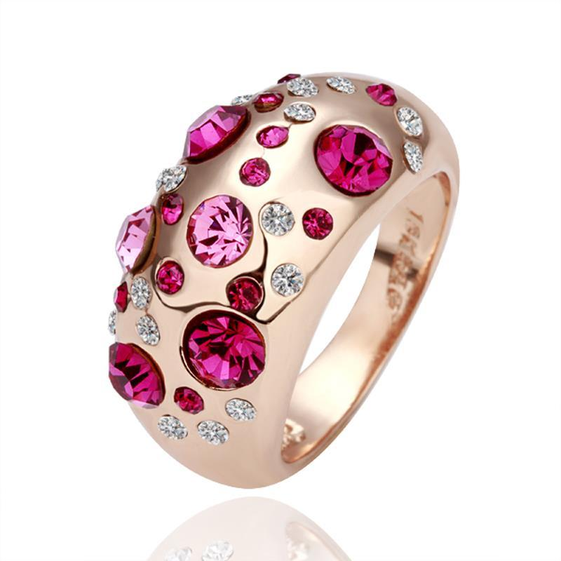 Vienna Jewelry Rose Gold Plated Coral Jewels Ring Size 8