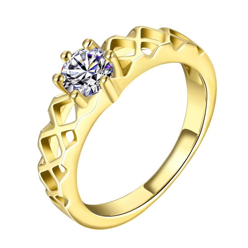 Vienna Jewelry Gold Plated Laser Cut Design Classic Wedding Ring Size 8