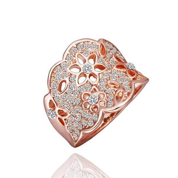 Vienna Jewelry Rose Gold Plated Jewels Covering Tiara Hollow Ring Size 8