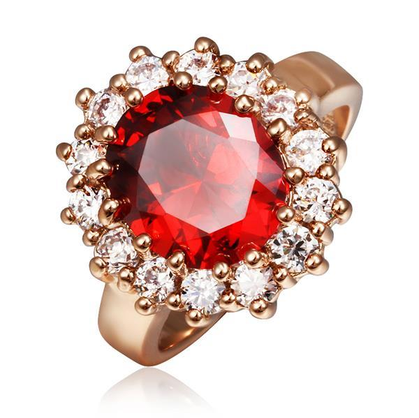 Vienna Jewelry Rose Gold Plated Ruby Red Gem Center Piece Ring Size 8