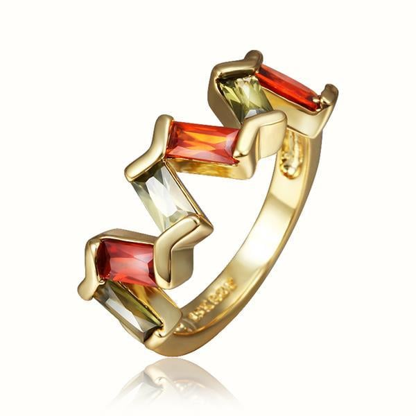 Vienna Jewelry Gold Plated Emerald & Ruby Abstract Swirl Ring Size 8