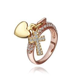 Vienna Jewelry Rose Gold Plated Charms Locked Ring Size 8 - Thumbnail 0