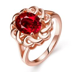 Vienna Jewelry Rose Gold Plated Chain Lock Ruby Red Ring Size 7 - Thumbnail 0