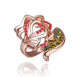 Vienna Jewelry Rose Gold Plated Ruby Floral Petal Ring Size 8 - Thumbnail 0