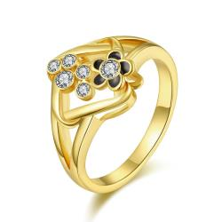 Vienna Jewelry Gold Plated Curved Rhombus Cocktail Ring Size 7 - Thumbnail 0