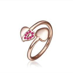 Vienna Jewelry Petite Rose Gold Plated Coral Swirl Ring Size 8 - Thumbnail 0