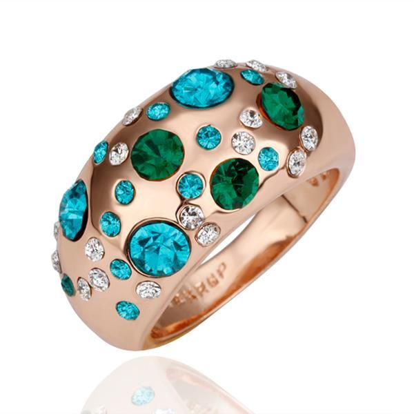 Vienna Jewelry Rose Gold Plated Emerald Covering Jewels Ring Size 8