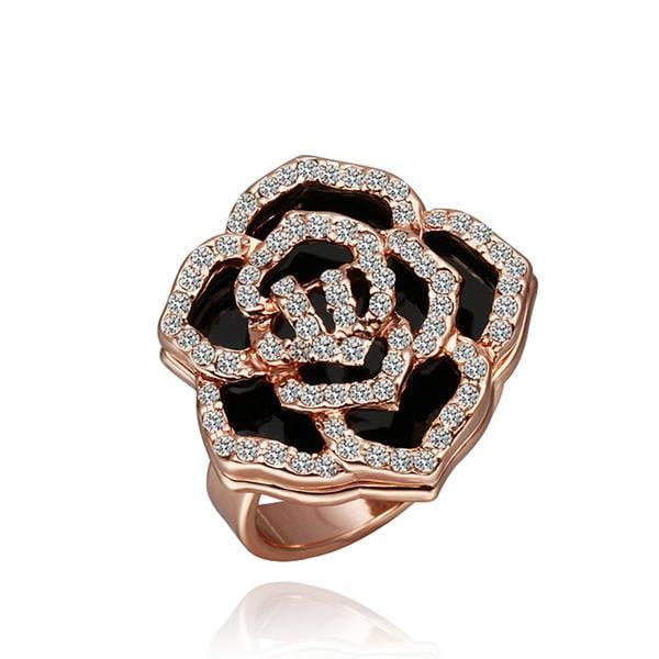 Vienna Jewelry Rose Gold Plated Crystal Jewels Covering Floral Ring Size 8