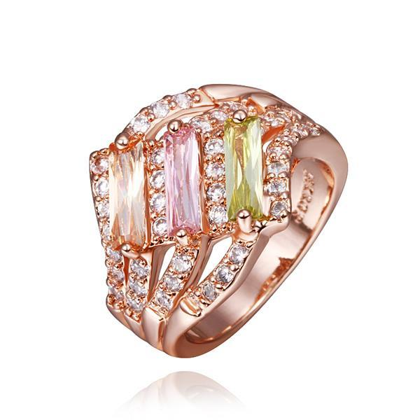 Vienna Jewelry Rose Gold Plated Trio Light Wave Rainbow Jewels Ring Size 8