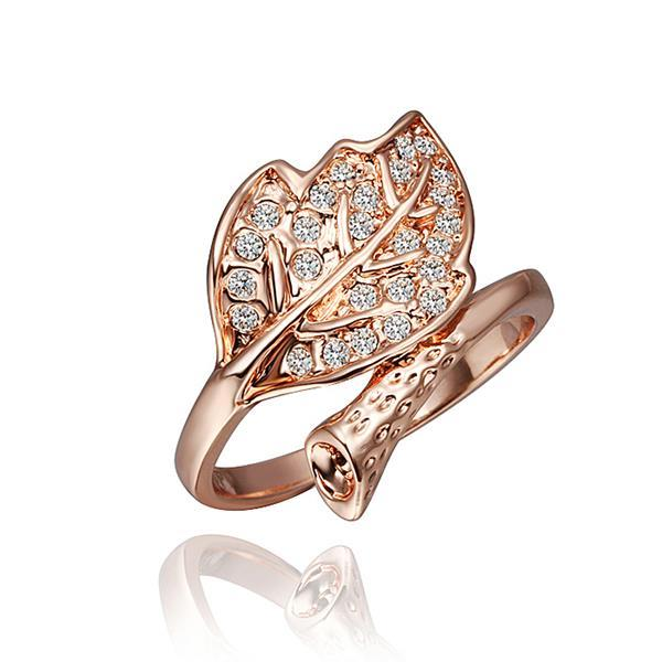 Vienna Jewelry Rose Gold Plated Crystal Jewels Leaf Branch Bring Size 8