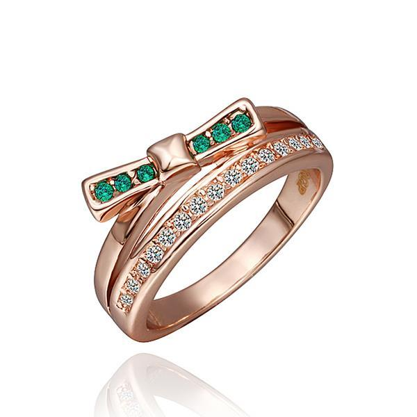 Vienna Jewelry Rose Gold Plated Emerald Linear Swirl Ring Size 8