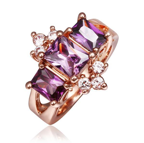 Vienna Jewelry Rose Gold Plated Lavender Crown Jewel Ring Size 8