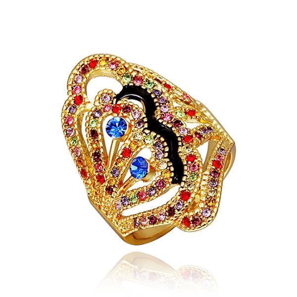 Vienna Jewelry Gold Plated Rainbow Jewels Covering Modern Twist Ring Size 8