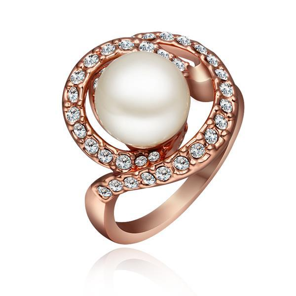 Vienna Jewelry Rose Gold Plated Swirl Pearl Ring Size 8
