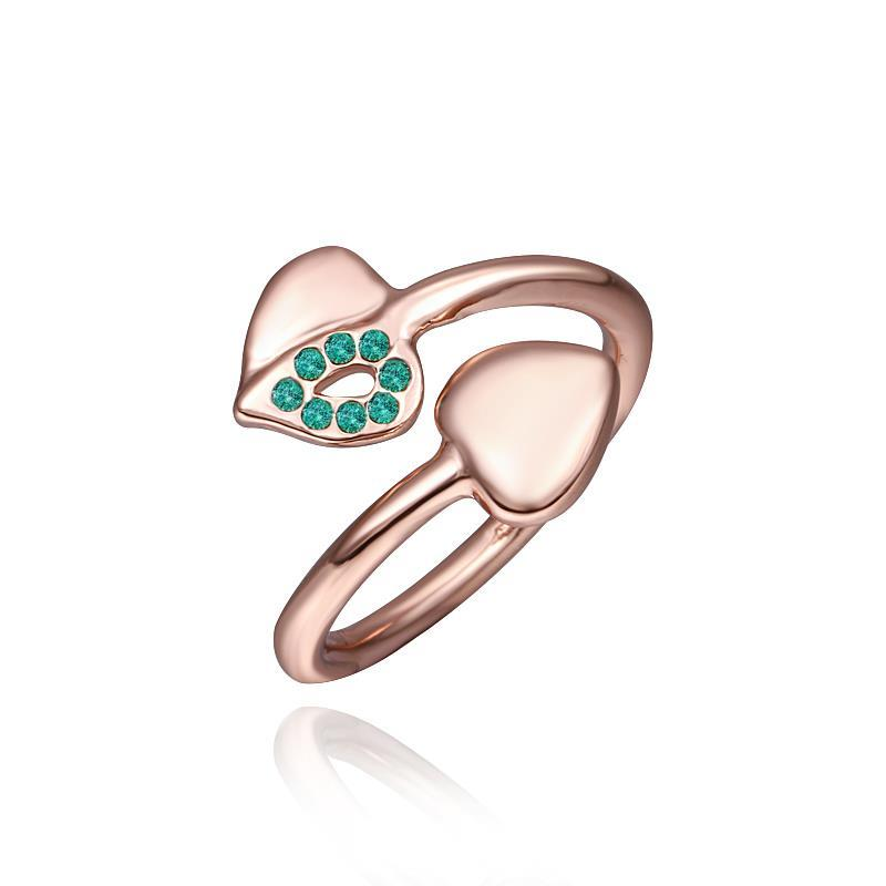 Vienna Jewelry Petite Rose Gold Plated Emerald Swirl Ring Size 8