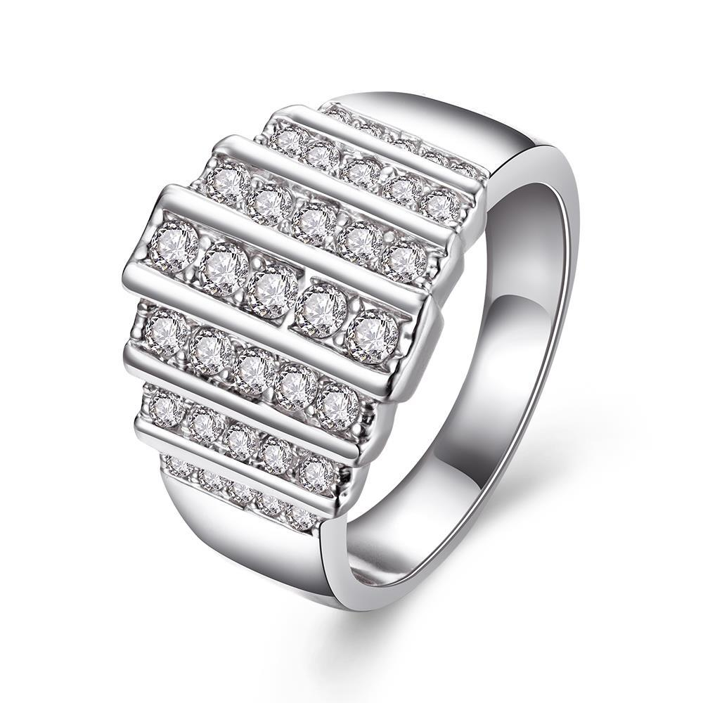 Vienna Jewelry White Gold Plated Muli Lined Jewels Covering Ring Size 8