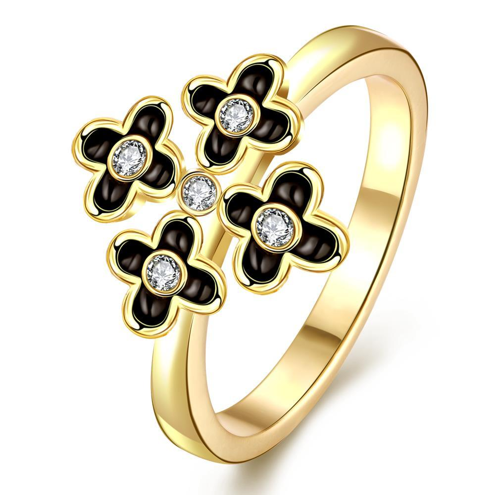 Vienna Jewelry Gold Plated Quad-Petite Clover Cocktail Ring Size 7